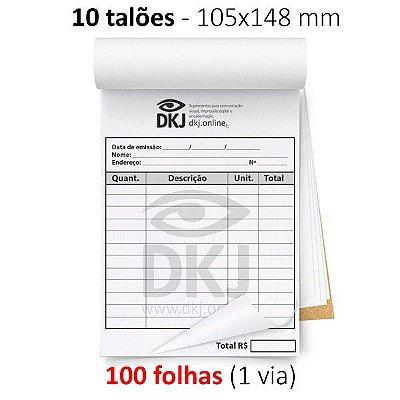 10 talões 105x148 mm - 1 via branca 75g ou 90g - blocagem, serrilha e grampo - opção P/B e colorido