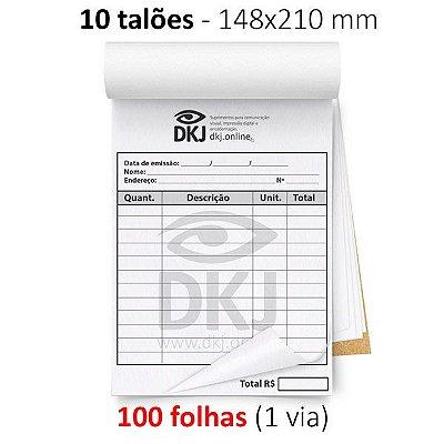 10 talões 148x210 mm - 1 via branca 75g ou 90g - blocagem, serrilha e grampo - opção P/B e colorido