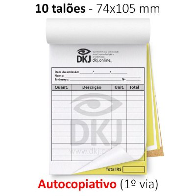 10 talões 74x105 mm - 1º via autocopiativo branca 2º via amarela 53g - 1x0 cores - blocagem, serrilha e grampo