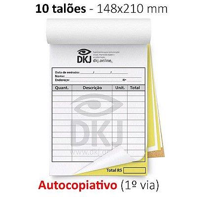 10 talões 148x210 mm - 1º via autocopiativo branca 2º via amarela 53g - 1x0 cores - blocagem, serrilha e grampo