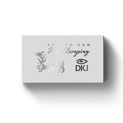 Cartão de visita 9x5 cm hot stamping prata frente laminação bopp frente e verso corte reto 4x0 cores em couché 300g