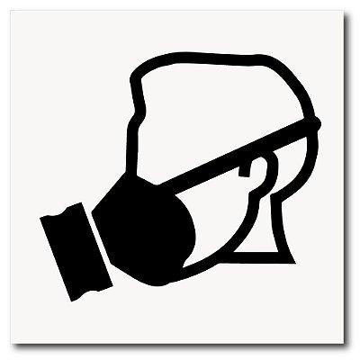 Placa use máscara de EPI 20x20 cm em ps 2mm