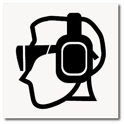 Placa protetor auricular e óculos de EPI 20x20 cm em ps 2mm