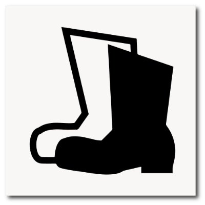 Placa de uso de botas de EPI 20x20 cm em ps 2mm