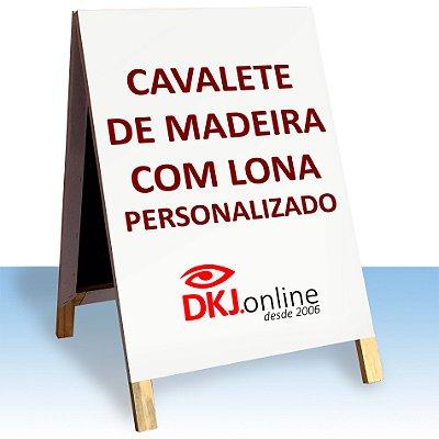 Cavalete de madeira 70x100 cm com lona impressão digital personalizado