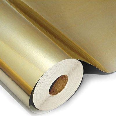Filme de poliéster ouro 50cm ou 100cm de largura para impressão serigráfica ou U.V.