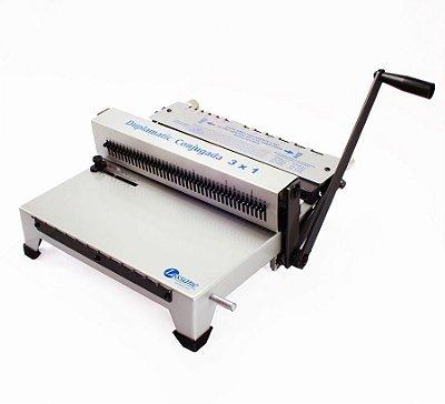 Duplamatic conjugada - Perfuradora manual agregada com uma fechadora para duplo anel com opção de furo quadrado e redondo