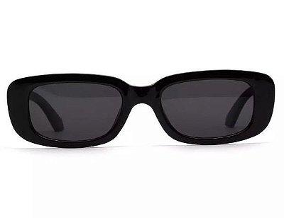 Óculos De Sol Retangular - Retrô Vintage  Preto