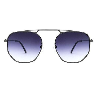 Oculos de Sol Hexagonal Preto Degrade - Unissex Metal