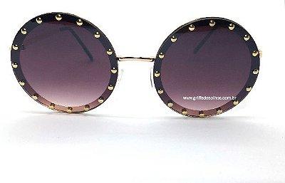 Óculos de Sol Redondo com Tachas Douradas