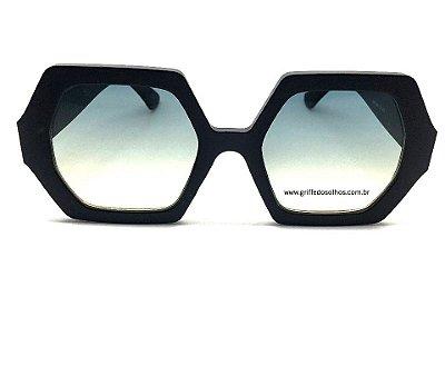 Óculos de Sol Octagonal Preto Fosco- Feminino Grande