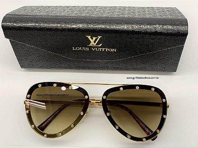 Aviador Louis Vuitton Strass Luxo - Marrom
