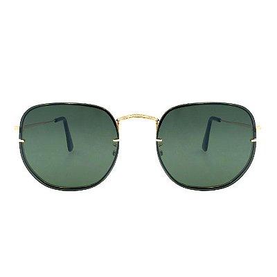 Óculos de Sol Hexagonal Lente Verde - Unissex