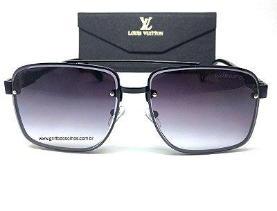 Louis Vuitton LV  Quadrado  - Óculos de Sol Masculino / Lente Preto Degrade