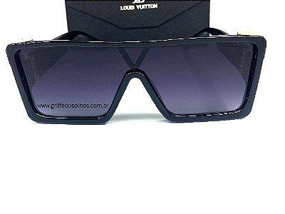 Óculos Quadrado Louis Vuitton Square Preto - Armação Preto com Dourado