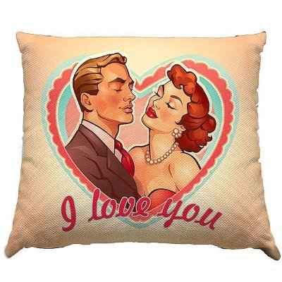 Almofada - i love you casal vintage - 30x30cm - com ziper e forro