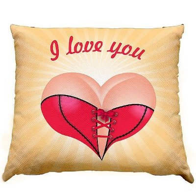 Almofada - I love you coração corselete - 30x30cm - com ziper e forro