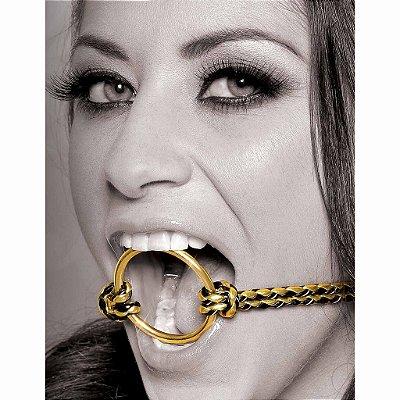 Mordaça Dourada de Metal Open Mouth Gag - Coleção Fetish Fantasy Gold