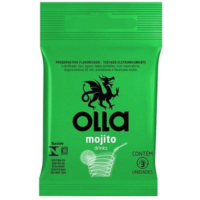 Preservativo Olla Drinks Mojito - Com 3 Unidades