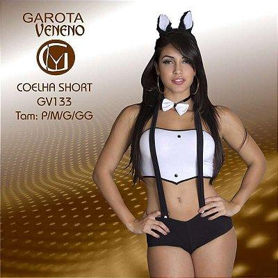 FANTASIA FEMININA GAROTA VENENO COELHA SHORT