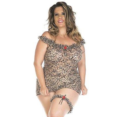 Camisola sensual plus size oncinha chick Pimenta Sexy