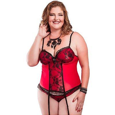 Espartilho plus size sexy em cirrê vermelho Hot Flowers