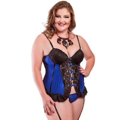 Espartilho plus size sexy cirrê azul Hot Flowers