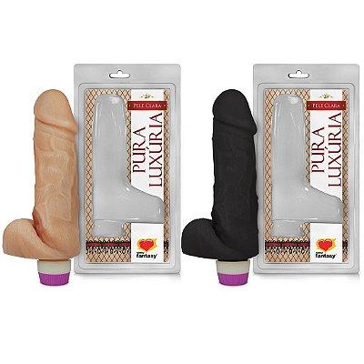 Prótese Vibrador Interno com Escroto 18 x 5cm Sexy Fantasy