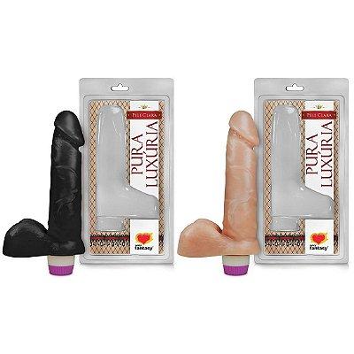 Prótese Vibrador Interno com Escroto 15 x 3,8cm Sexy Fantasy