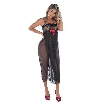 Camisola Longa Preta Com Laço Vermelho