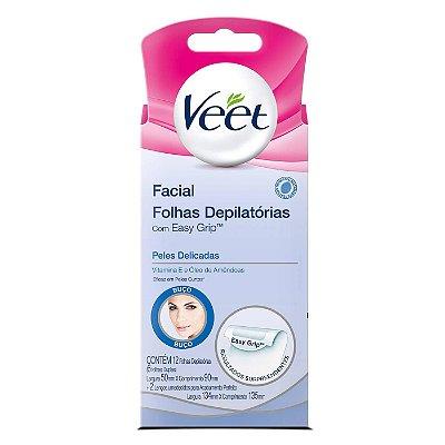 Veet Facial Folhas Depilatórias Easy Grip - 6 folhas duplas