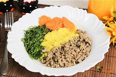 FIT13 - Carne de patinho moída refogada com  purê de mandioquinha, couve-manteiga e cenoura refogados
