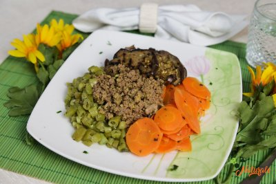BC03 - Carne de patinho moída e refogada, cenoura, vagem refogados ao azeite, alho e berinjela picante