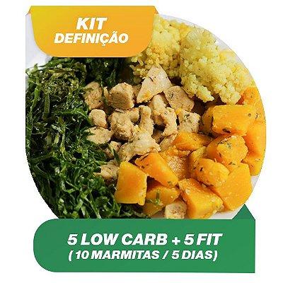 KIT DEFINIÇÃO 5 dias - 5 Marmitas Fit e 5 Marmitas Low Carb
