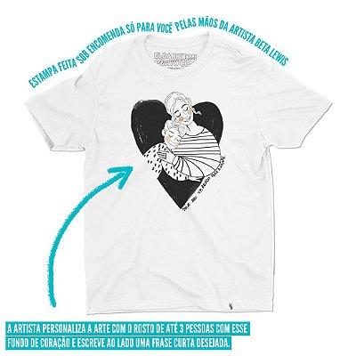 Coração: Retrato Personalizado - Camiseta Basicona Unissex