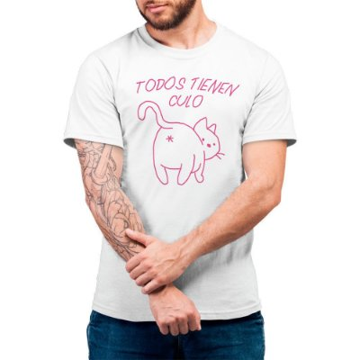 Gatíneos Tienen Culo - Camiseta Basicona Unissex-Branca-G