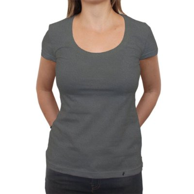 Camiseta Clássica Premium Feminina Lisa Preta Estonada