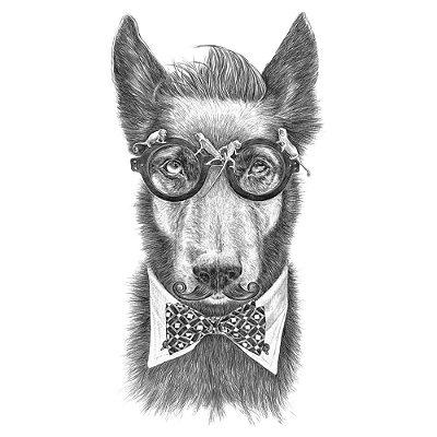 Hipster Dog - Camiseta Clássica Masculina