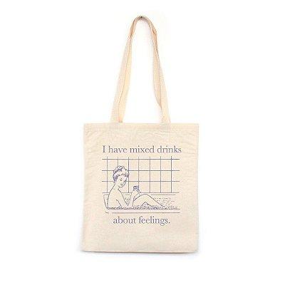 I Have Mixed Drinks - Bolsa de Lona-Off White-U