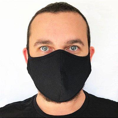 Máscara Reutilizável de Malha (2 camadas) - Preta Lisa - Média