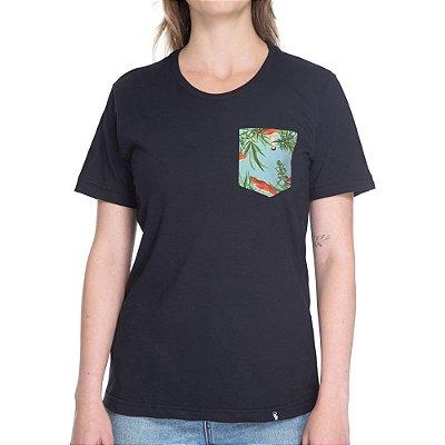 Plantas, Cogumelos, Fundo Azul Claro - Camiseta Clássica com Bolso