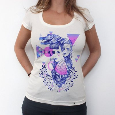 Retrato Minimalista Geométrico - Camiseta Clássica Feminina
