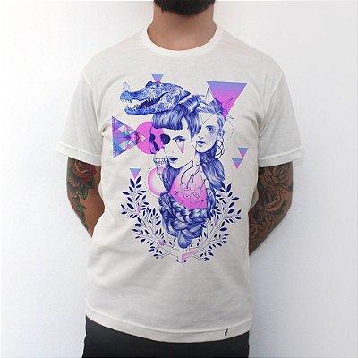 Retrato Minimalista Geométrico - Camiseta Clássica Masculina