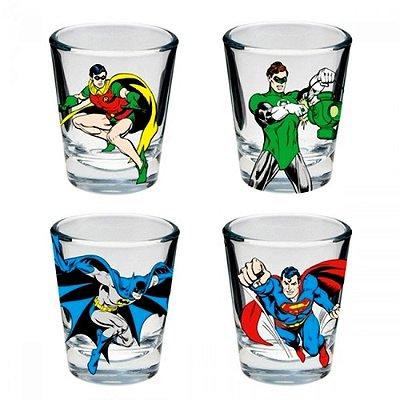 Set c/ 4 Copos de Dose de Vidro - DC Comics Good Boys Colorido