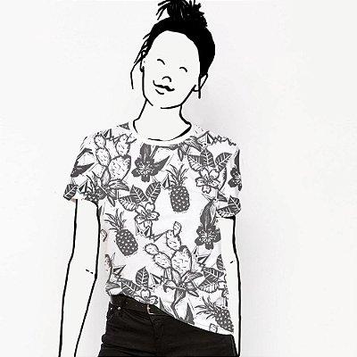 Camiseta Feminina, Xilo, Floral e Cordel