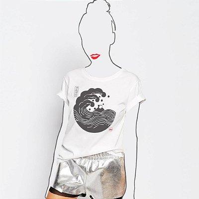 Camiseta Feminina,  Big Wave Kamon Cordel In Japan Hatsushika Hokusai