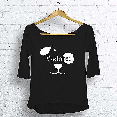 T-Shirt Canoa 3/4 #Adotei Feminino