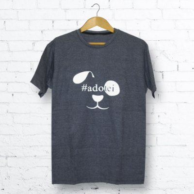 Camiseta Masculina Mescla chumbo Cachorro #Adotei