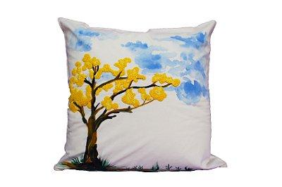 Almofada Ipê amarelo com pintura PRODUTO SOB ENCOMENDA