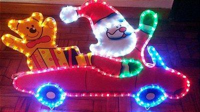 Enfeite Carro do Papai Noel Com Urso Para Pendurar 110v